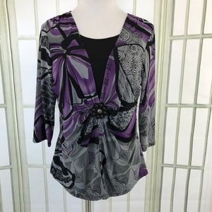 Bay Studio Ruched Slinky Blouse 2 Layer Lagenlook